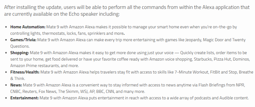 Amazon Alexa for Huawei Mate 9