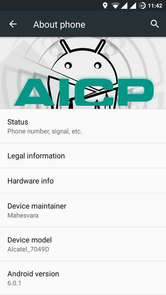 AICP 11 For Alcatel Flash 2 4 - Android 6.0.1 Marshmallow AICP 11 For Alcatel Flash 2 [7049D]