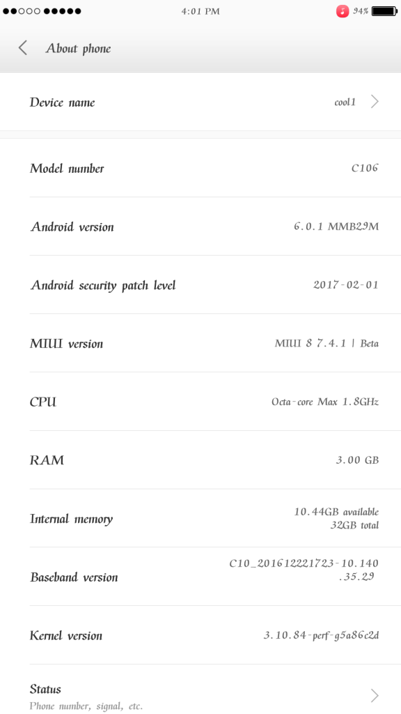 Cool 1 MIUI 8 Marshmallow ROM 1 576x1024 - Guide To Install Android 6.0.1 Marshmallow MIUI 8 ROM For Cool 1