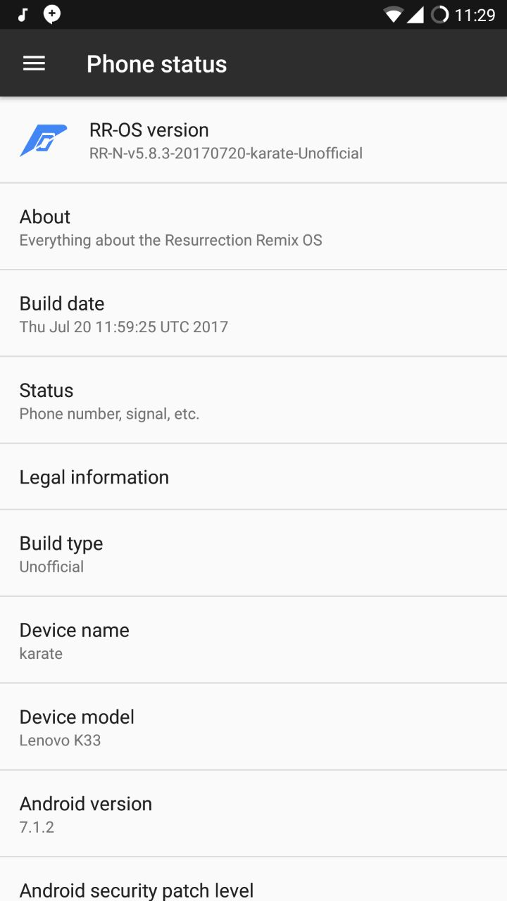 RR ROM Lenovo K6 Power 4 - Install 5.8.3 Resurrection Remix Nougat ROM For Lenovo K6 Power