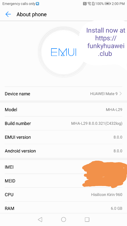 Emui 8.0 on Huawei Mate 9 OREO update