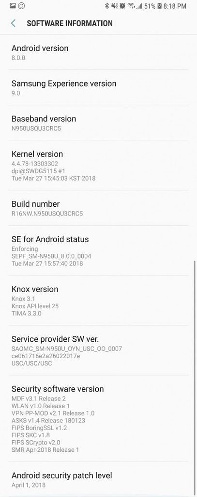 N950USQU3CRC5 OTA For Galaxy Note 8