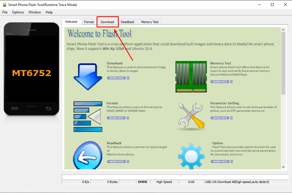SP Flash Tool Download tab - Guide To Flash Stock ROM using Smart Phone Flash Tool (SP Flash Tool)