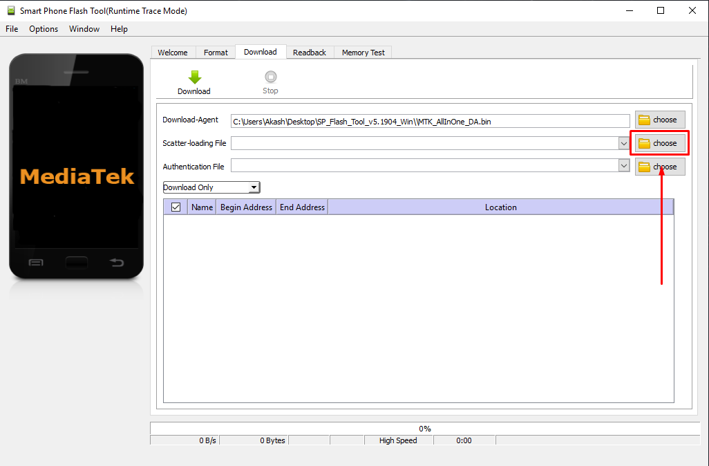SP Flash Tool Scatter loading button - Guide To Flash Stock ROM using Smart Phone Flash Tool (SP Flash Tool)
